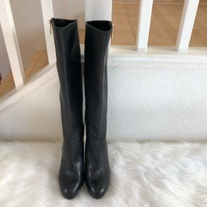 Vince Camuto black leather knee high heeled boots